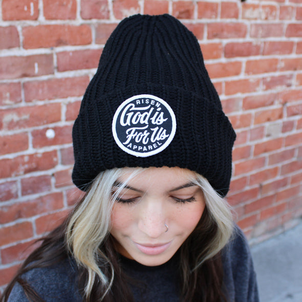 God is for us black chunky beanie
