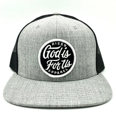 God is for us gray and black trucker hat