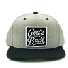God's got my back black and gray snapback
