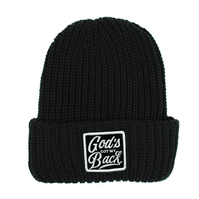 God's got my back black chunky beanie