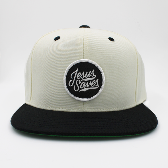 Jesus Saves pearl white and black snapback by risen apparel christian cap