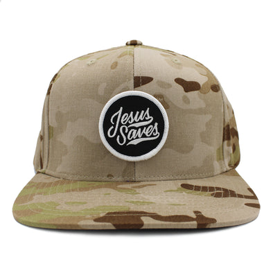 Jesus saves brown camo snapback