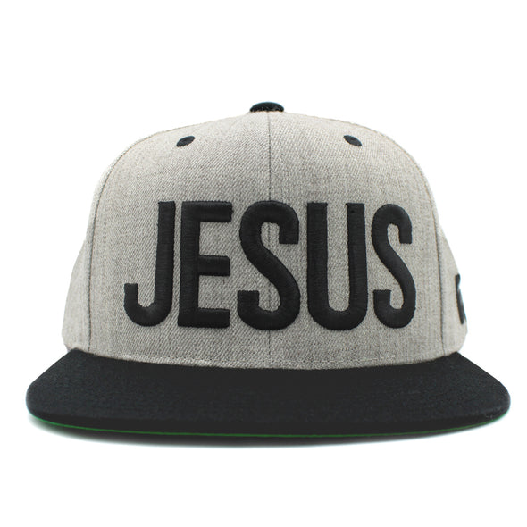 Jesus silver gray and black snapback