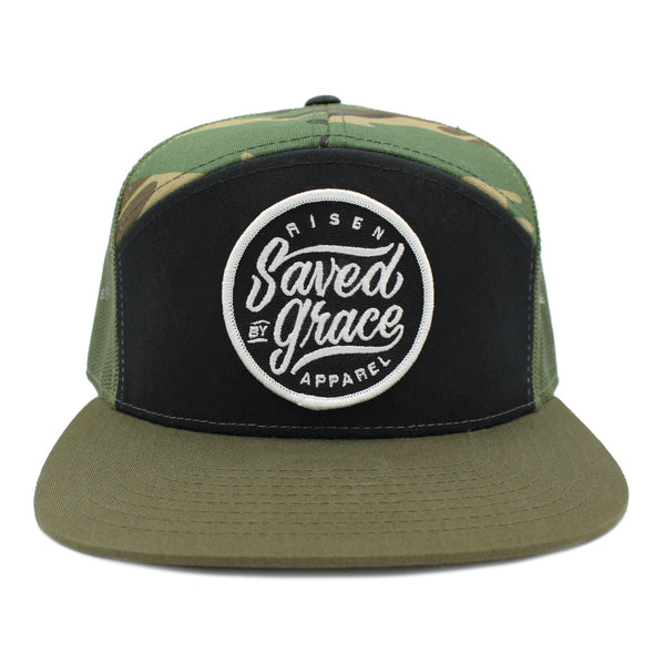 Saved by grace risen apparel trucker snapback camo army