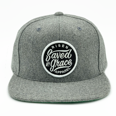 saved by grace risen apparel christian snapback heather gray black and white