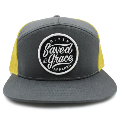 Saved by grace yellow and gray trucker hat