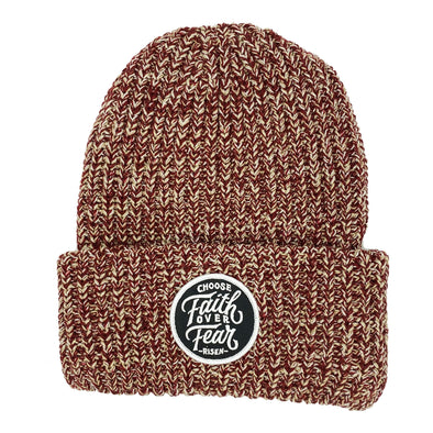 Choose faith over fear cardinal chunky beanie