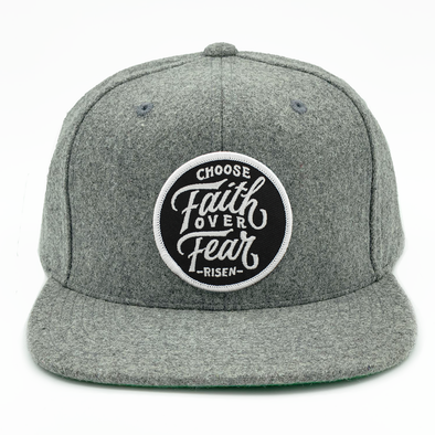 choose faith over fear risen apparel christian snapback heather gray