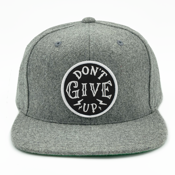 dont give up risen apparel heather gray snapback