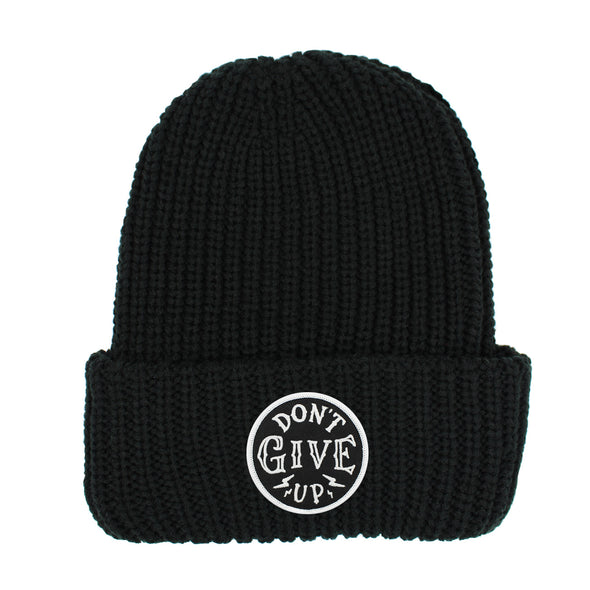 Don't give up black chunky beanie