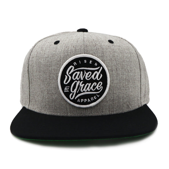 Saved by Grace black and gray snapback