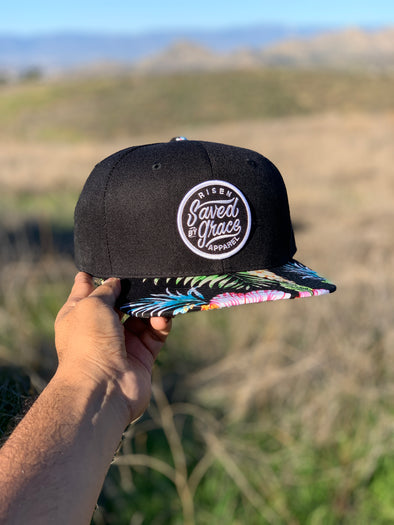 Saved by grace hawaiian floral SnapBack