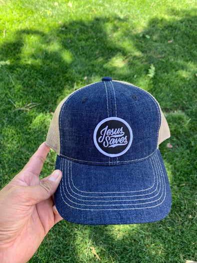 Jesus Saves blue denim hybrid dad cap