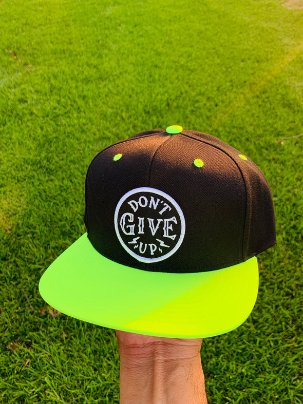 Don't give up neon black snapback