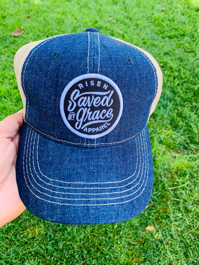 Saved by grace blue denim hybrid dad cap