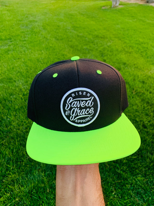 Saved by grace neon black snapback