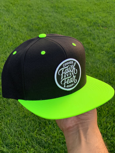Choose faith over fear neon black snapback