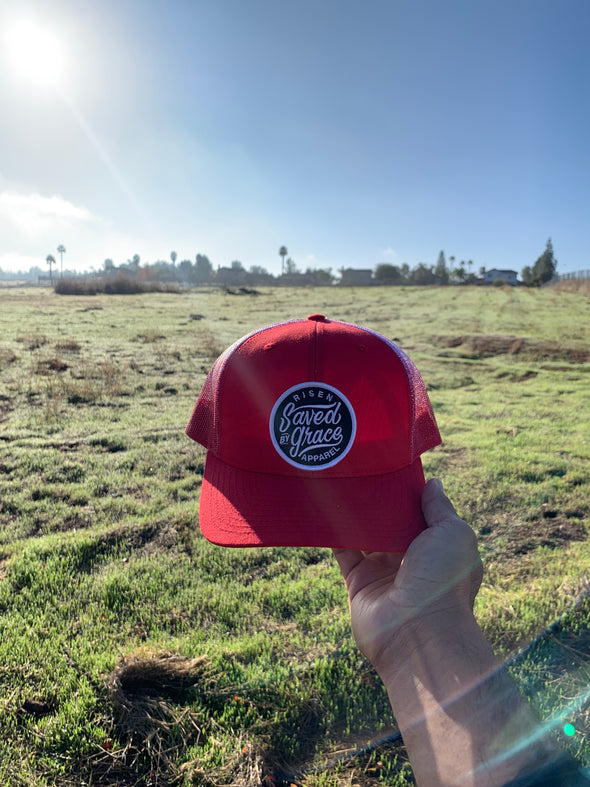 Saved by grace red trucker hat