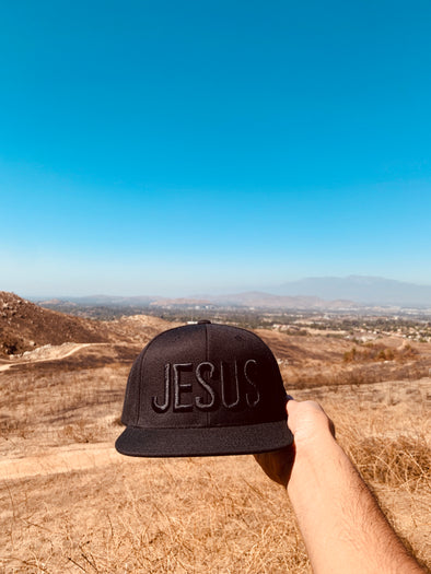 Jesus black on black snapback