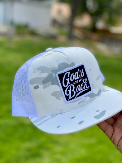 White God's got my back Camo trucker hat