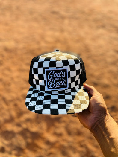 God's got my back squares trucker hat