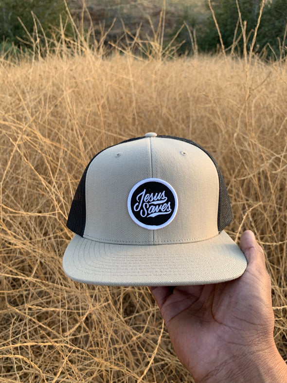 Jesus Saves tan and black trucker hat