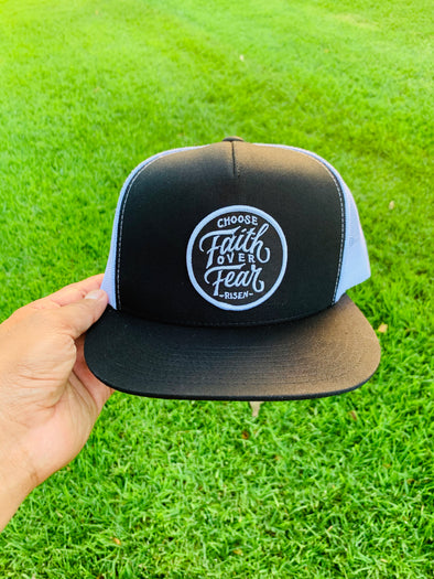 Choose faith over fear black & white trucker hat