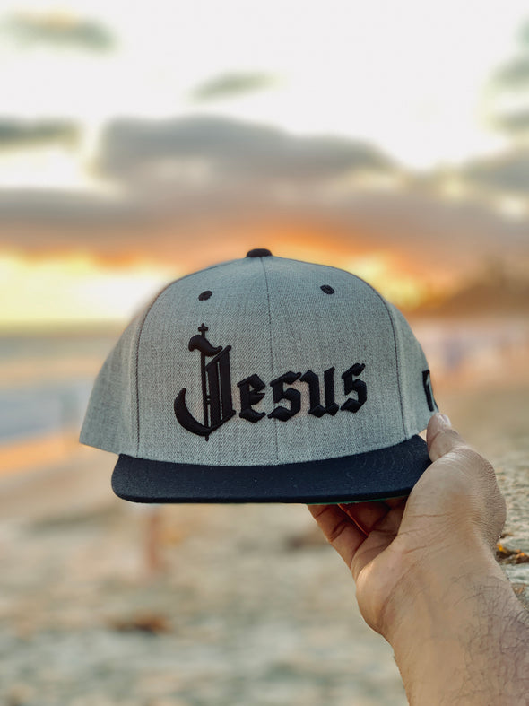 Jesus old English black and gray snapback