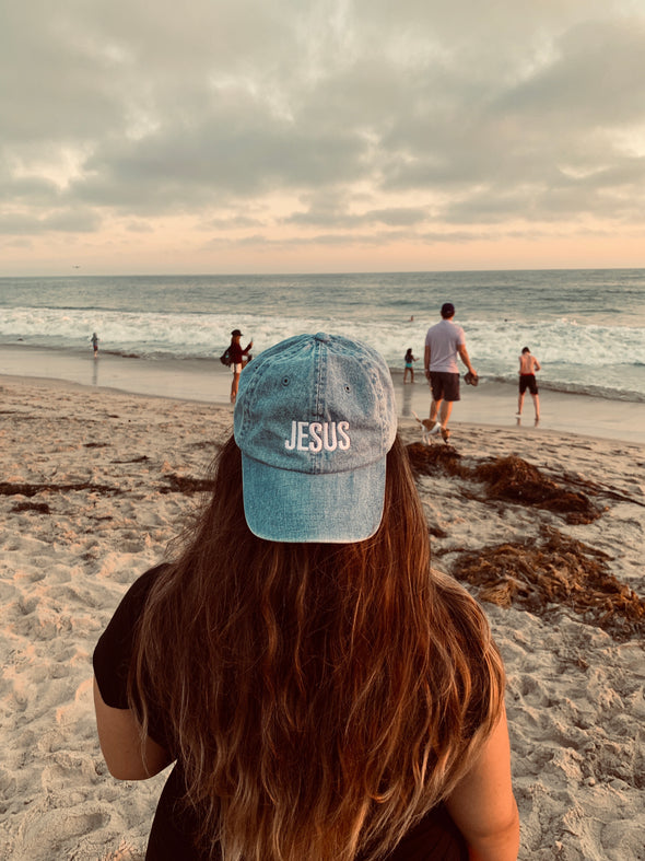 Blue denim Jesus dad cap