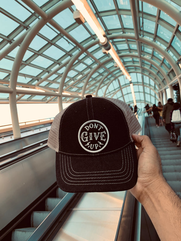 Don't give up black denim hybrid dad cap