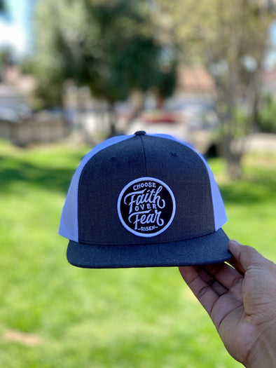 Choose faith over fear white & gray trucker hat