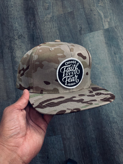 Choose faith over fear new camo brown snapback