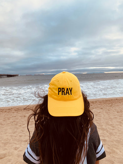Pray yellow gold dad cap