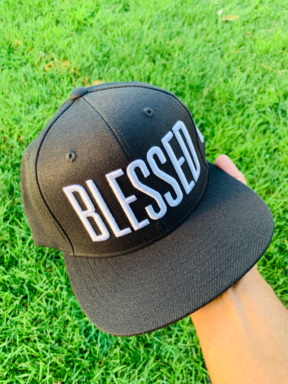 Blessed tall font black snapback