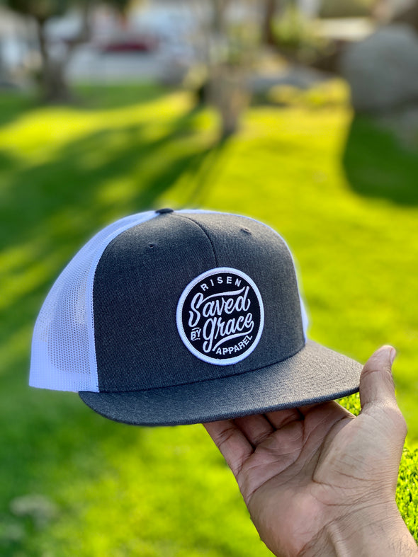 Saved by grace white & gray trucker hat