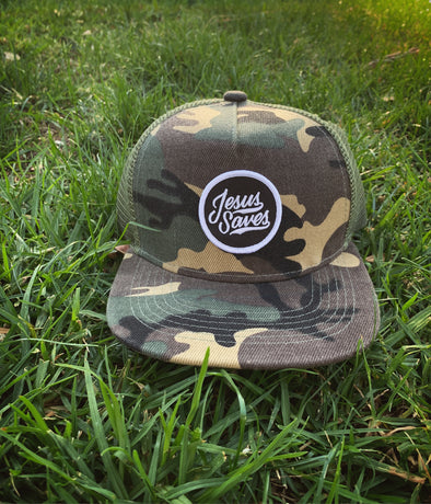 Kids Army / camo Jesus saves snapback (Jr.)