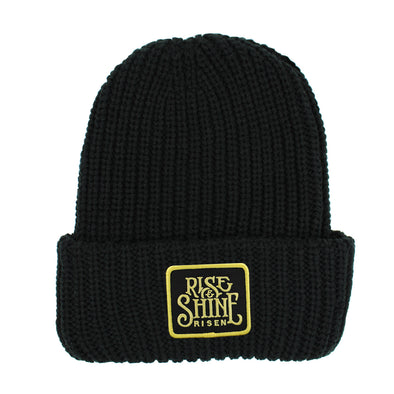 Rise and shine black chunky beanie