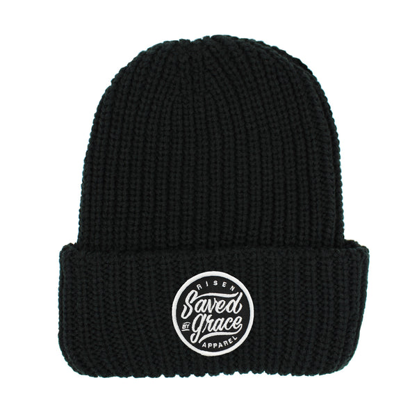 Saved by grace black chunky beanie