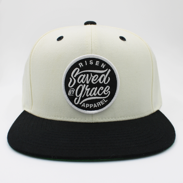 Pearl / white and black saved by grace snapback