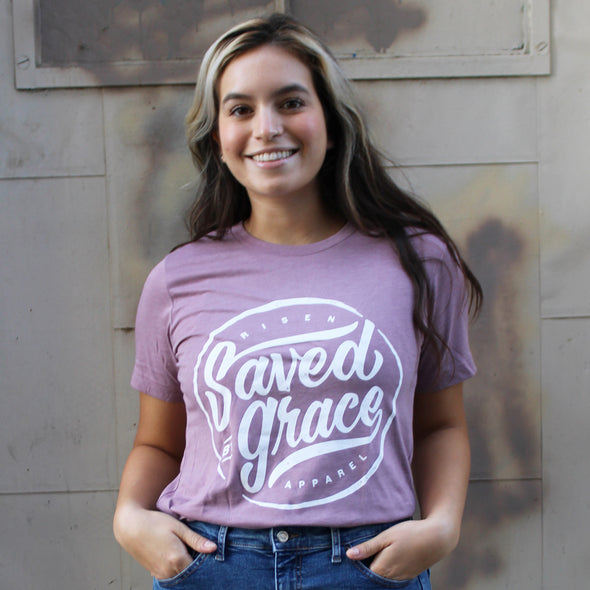 Saved by grace heather tee