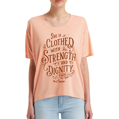 she is clothed with strength and dignity proverbs 31-25 risen apparel risen christian t-shirt