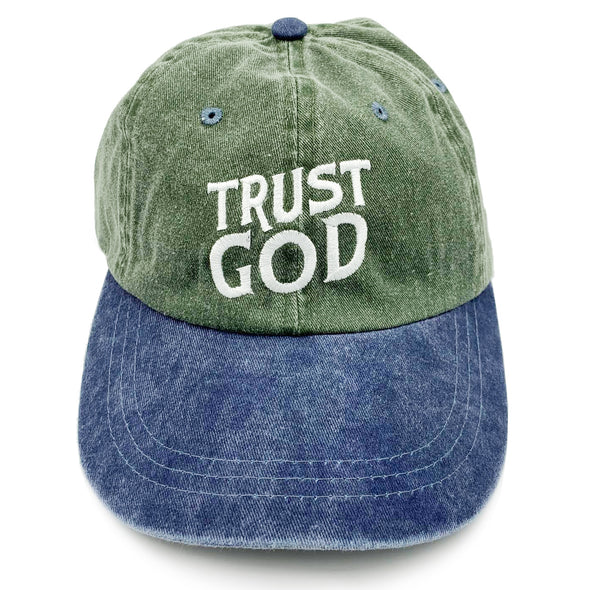 Vintage Trust God Dad cap green/denim