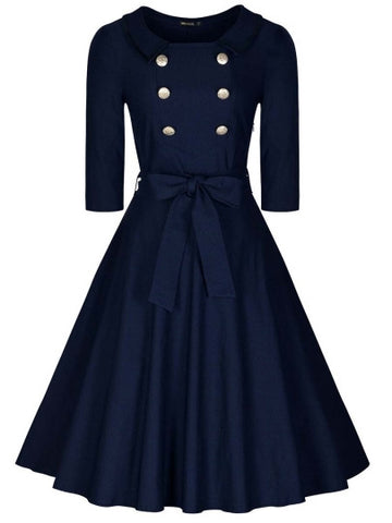 Double-Breasted Navy Day Dress