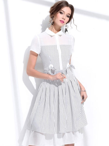 White Lines Bowknot Dress