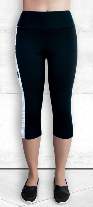 Funtastic Activewear - Black and White Dragon Capri Pants