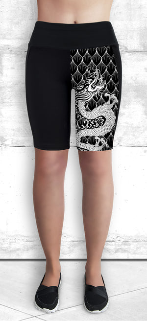Funtastic Activewear - Black & White Dragon Shorts