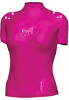 Crystal Ladies Cap Sleeve Rashie - black & pink
