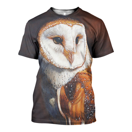 3D All Over Printed Barn owl Shirts And Shorts DT071110