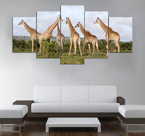 5 piece Giraffe printed Canvas Wall Art DT190701