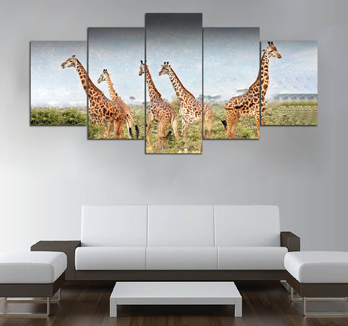 5 piece Giraffe printed Canvas Wall Art DT190702